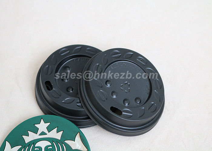 LOGO Printing 8oz Black Plastic Lids For Paper Cups / Hot Coffee Cups