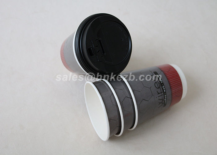 Double Wall Coffee Paper Cups , Custom Paper Coffee Cups With Lids PE Coated