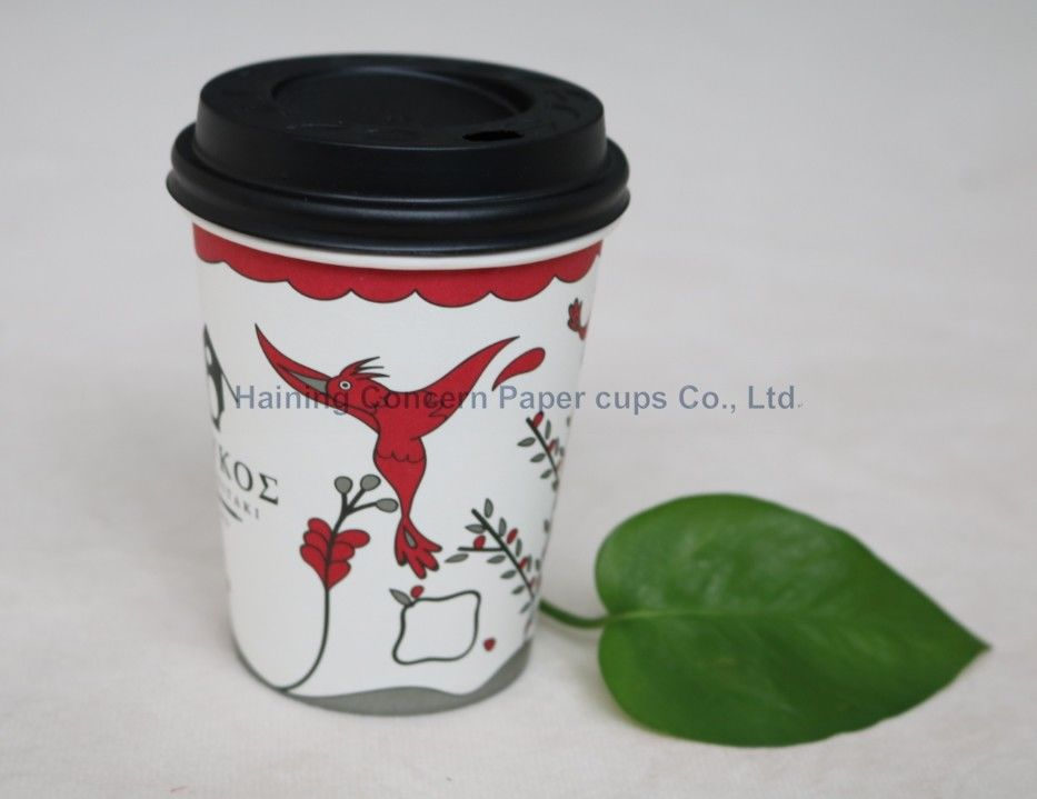 Small Hot Drink Paper Cups With Lids , Disposable Coffee Cup Single Wall